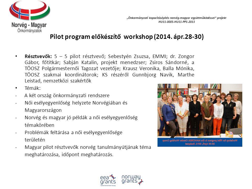 Pilot program előkészítő workshop (2014. ápr.28-30)