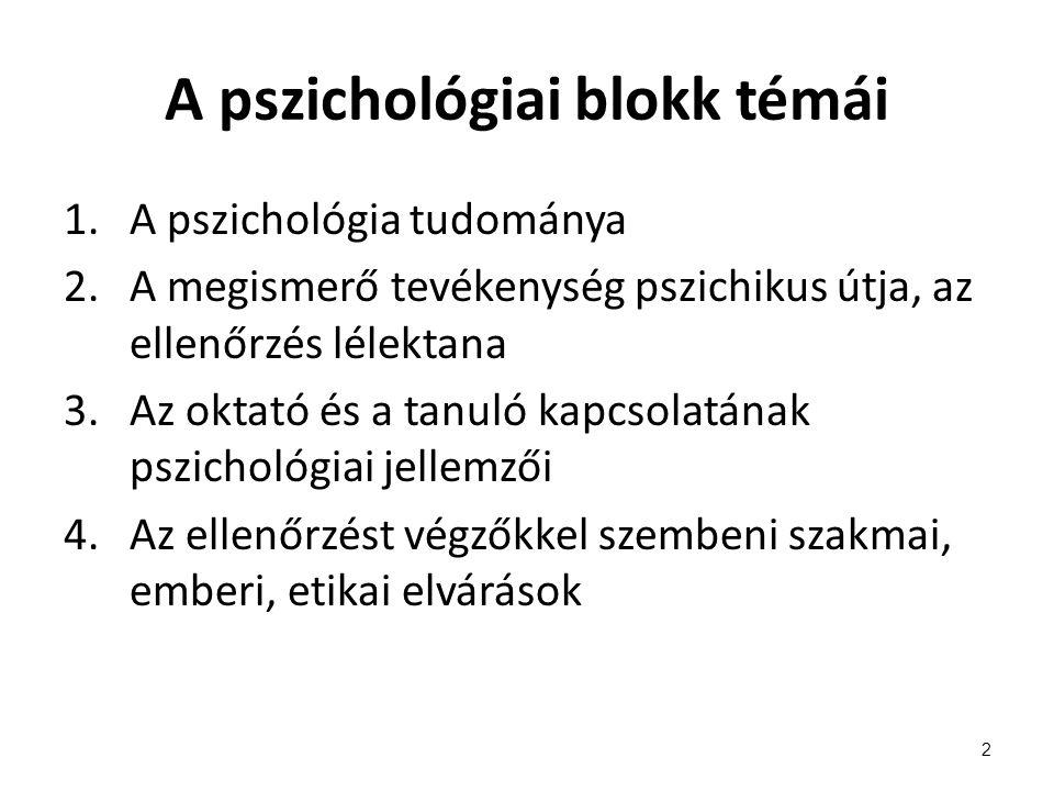 A pszichológiai blokk témái