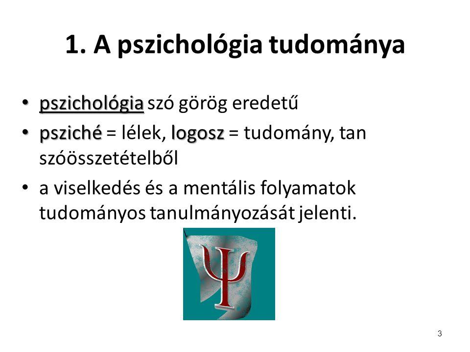 1. A pszichológia tudománya