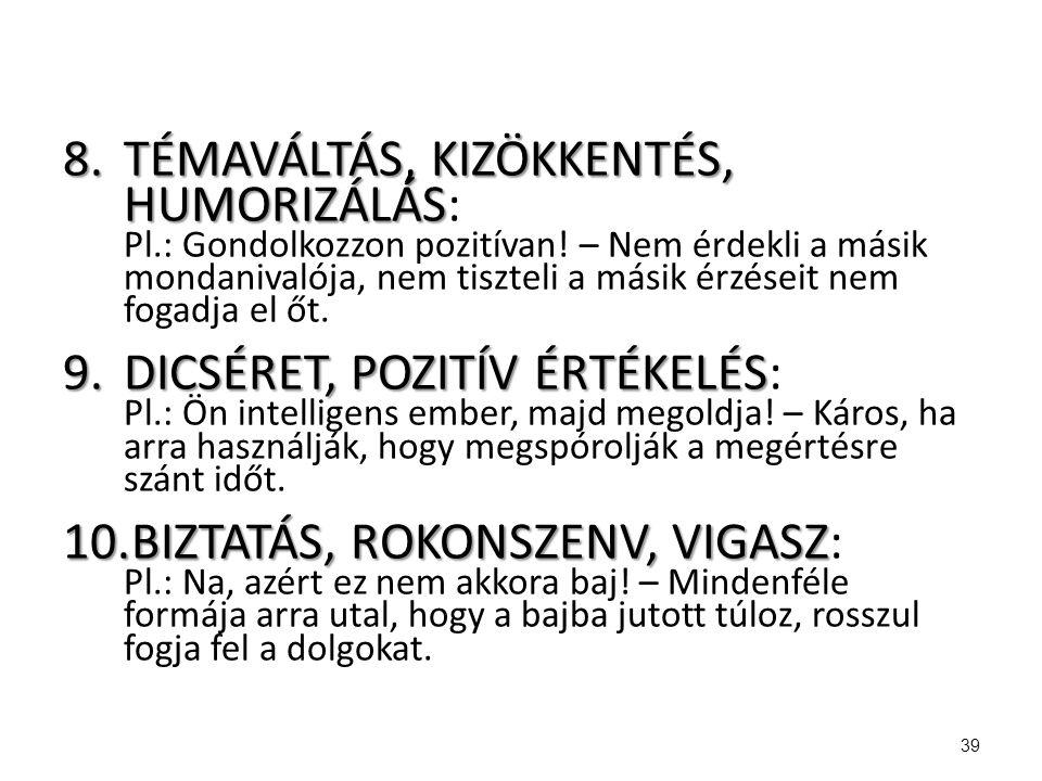 TÉMAVÁLTÁS, KIZÖKKENTÉS, HUMORIZÁLÁS: Pl. : Gondolkozzon pozitívan