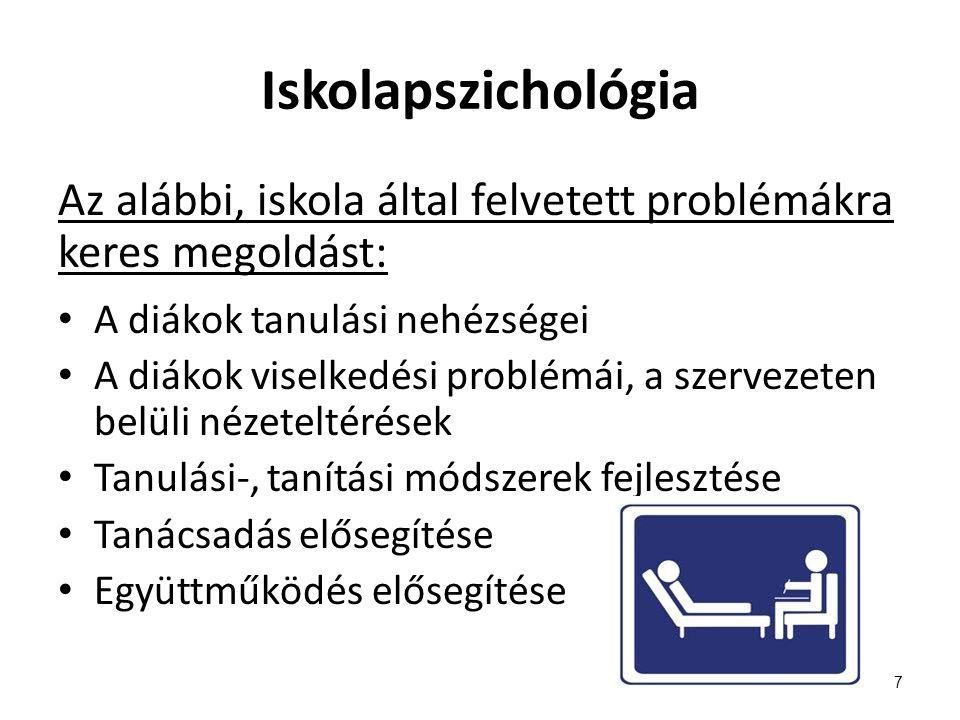 Iskolapszichológia Az alábbi, iskola által felvetett problémákra keres megoldást: A diákok tanulási nehézségei.
