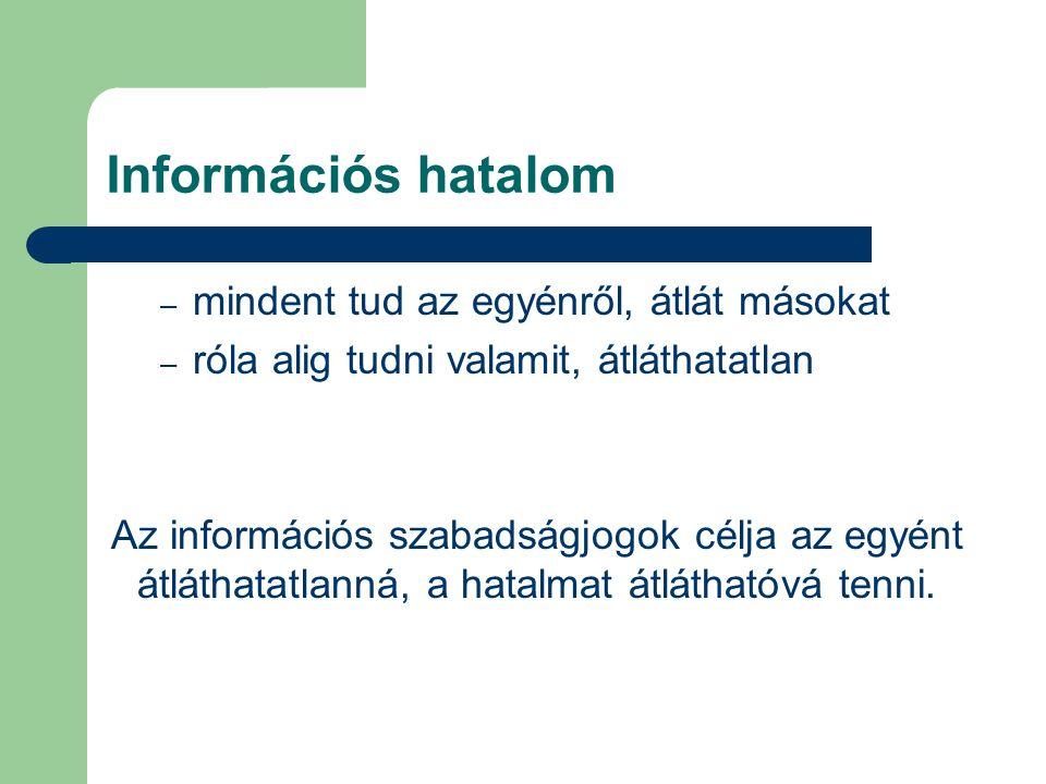 Információs hatalom mindent tud az egyénről, átlát másokat