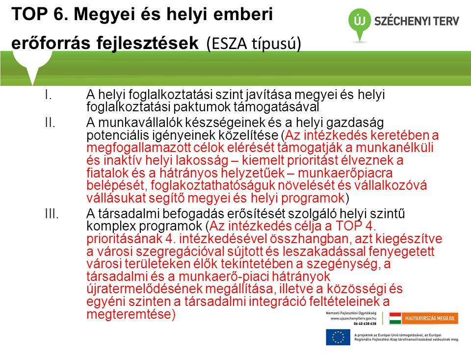 TOP 6. Megyei és helyi emberi erőforrás fejlesztések (ESZA típusú)
