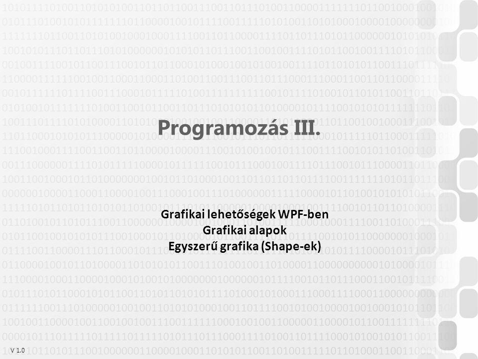 Grafikai lehetőségek WPF-ben Egyszerű grafika (Shape-ek)