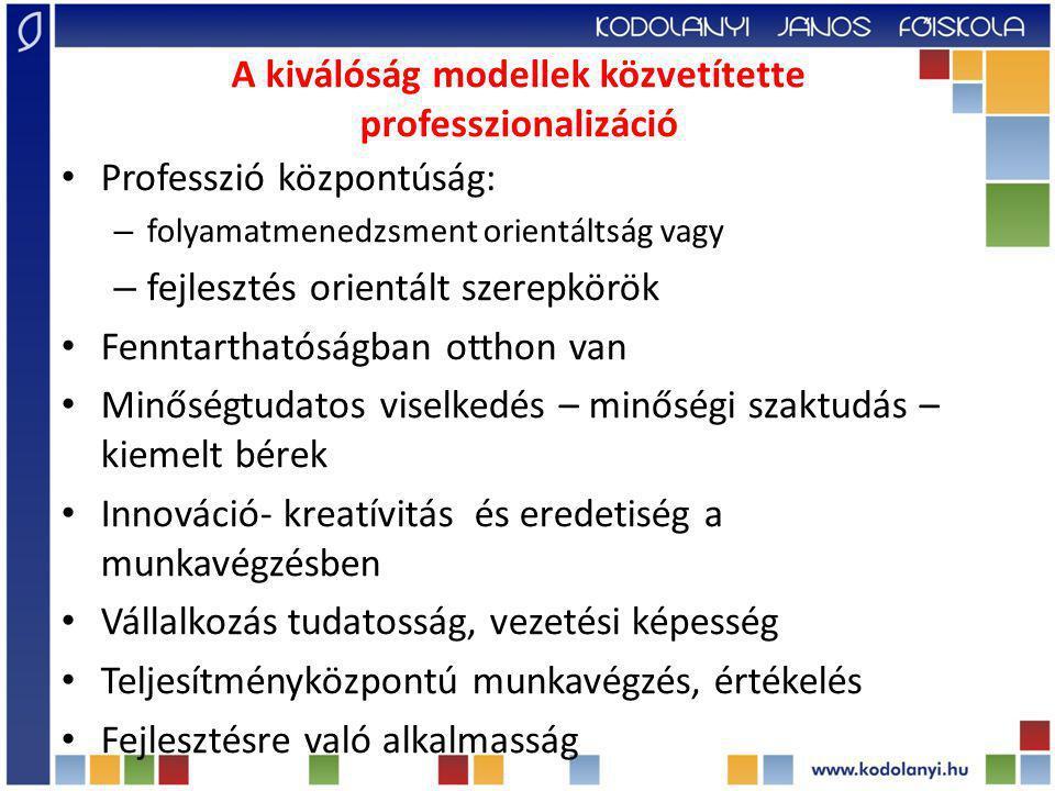 A kiválóság modellek közvetítette professzionalizáció