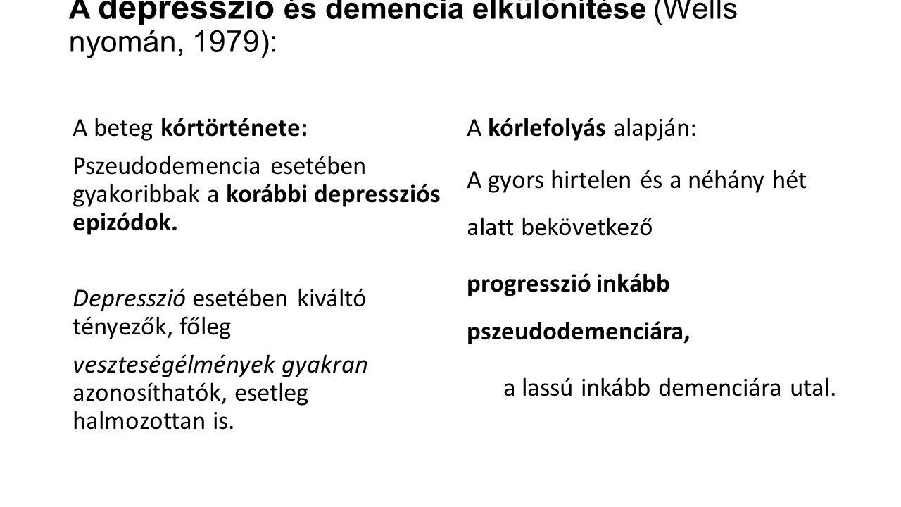 A depresszió és demencia elkülönítése (Wells nyomán, 1979):