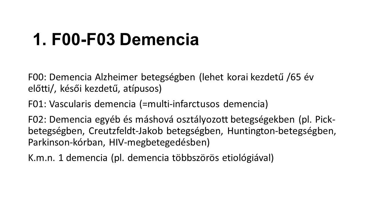 1. F00-F03 Demencia F00: Demencia Alzheimer betegségben (lehet korai kezdetű /65 év előtti/, késői kezdetű, atípusos)