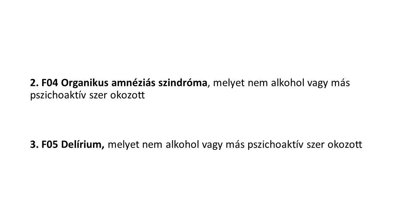 2. F04 Organikus amnéziás szindróma, melyet nem alkohol vagy más pszichoaktív szer okozott