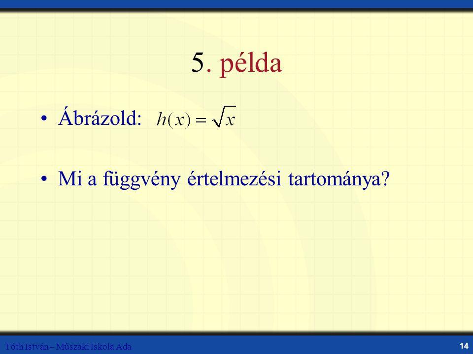 5. példa Ábrázold: Mi a függvény értelmezési tartománya