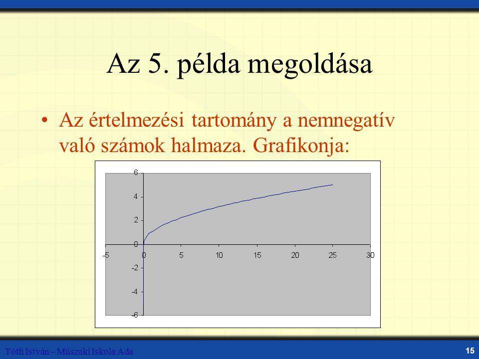 Az 5. példa megoldása Az értelmezési tartomány a nemnegatív való számok halmaza.