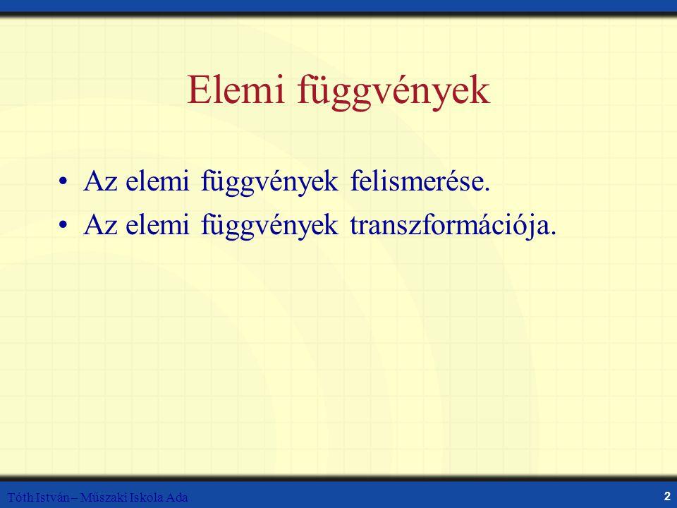 Elemi függvények Az elemi függvények felismerése.