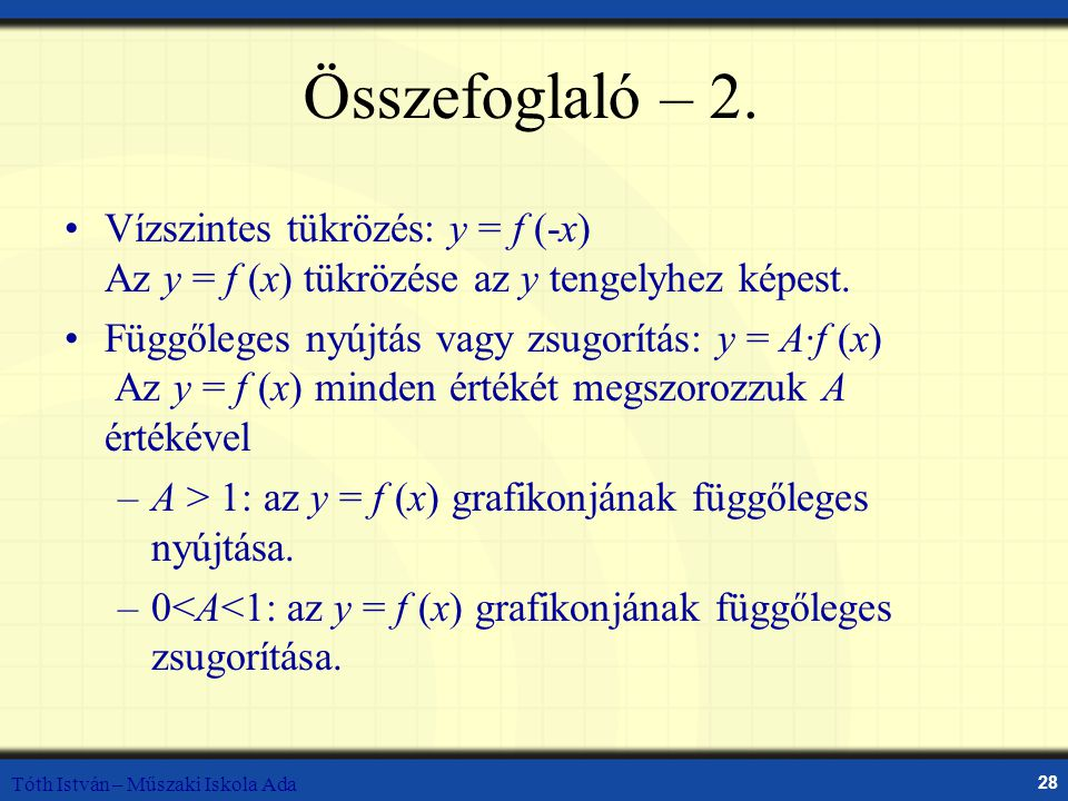 Összefoglaló – 2. Vízszintes tükrözés: y = f (-x) Az y = f (x) tükrözése az y tengelyhez képest.