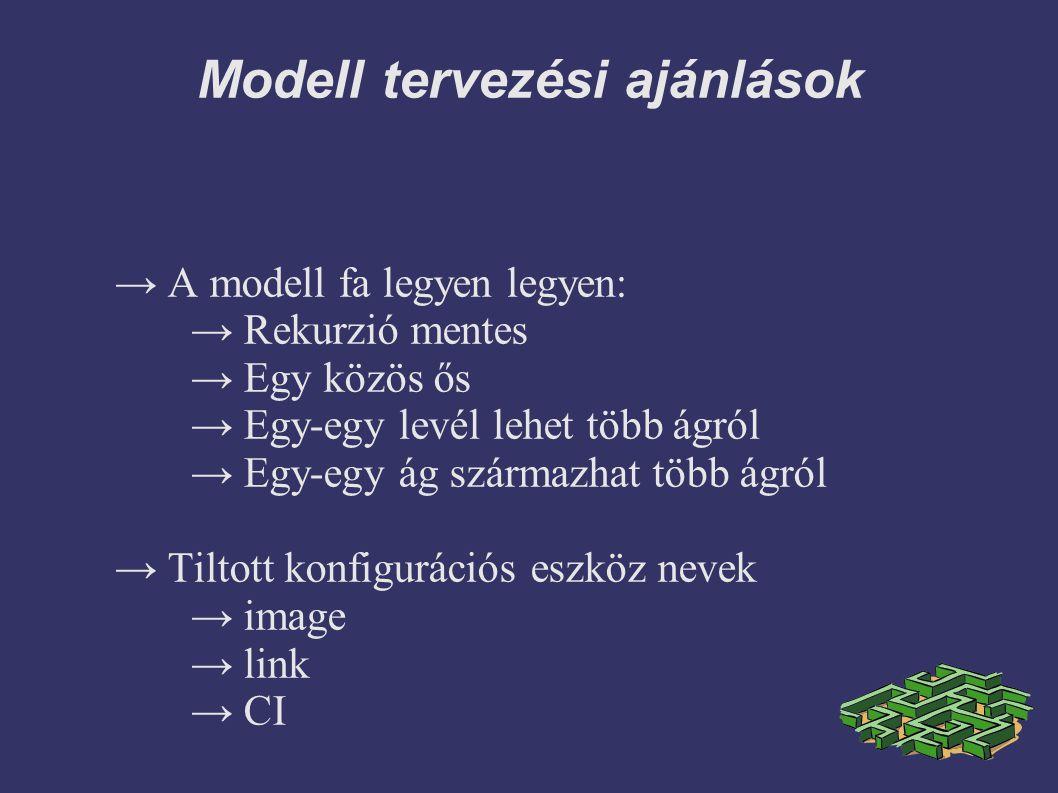Modell tervezési ajánlások