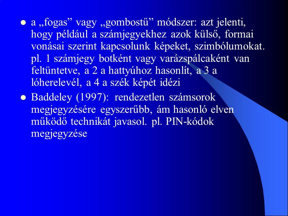 """a """"fogas vagy """"gombostű módszer: azt jelenti, hogy például a számjegyekhez azok külső, formai vonásai szerint kapcsolunk képeket, szimbólumokat. pl. 1 számjegy botként vagy varázspálcaként van feltüntetve, a 2 a hattyúhoz hasonlít, a 3 a lóherelevél, a 4 a szék képét idézi"""