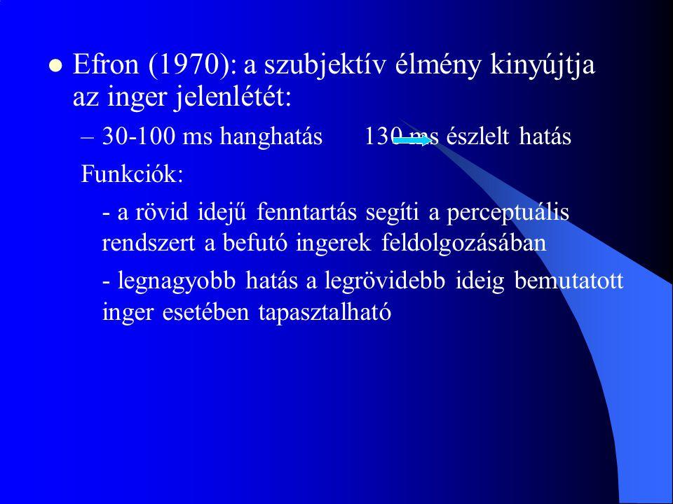 Efron (1970): a szubjektív élmény kinyújtja az inger jelenlétét: