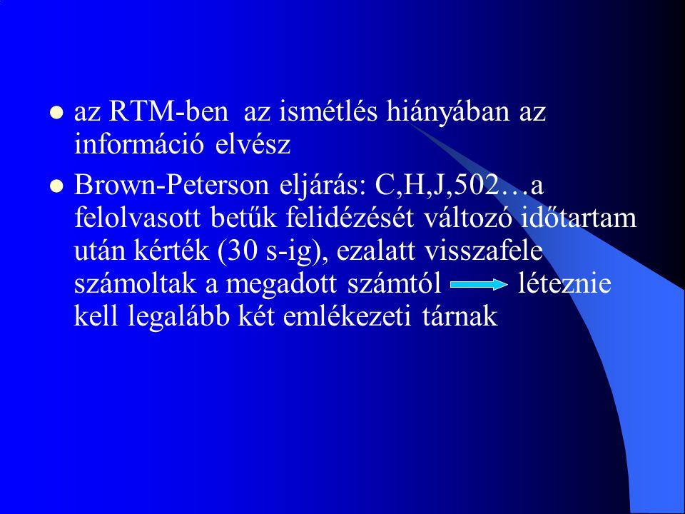 az RTM-ben az ismétlés hiányában az információ elvész
