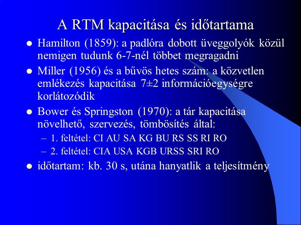 A RTM kapacitása és időtartama