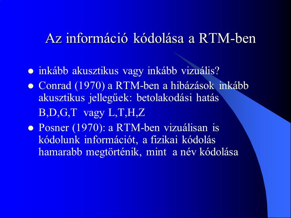 Az információ kódolása a RTM-ben
