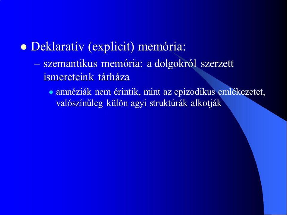 Deklaratív (explicit) memória: