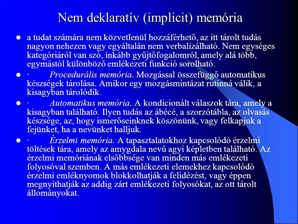 Nem deklaratív (implicit) memória