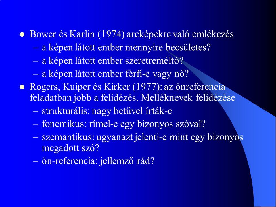 Bower és Karlin (1974) arcképekre való emlékezés