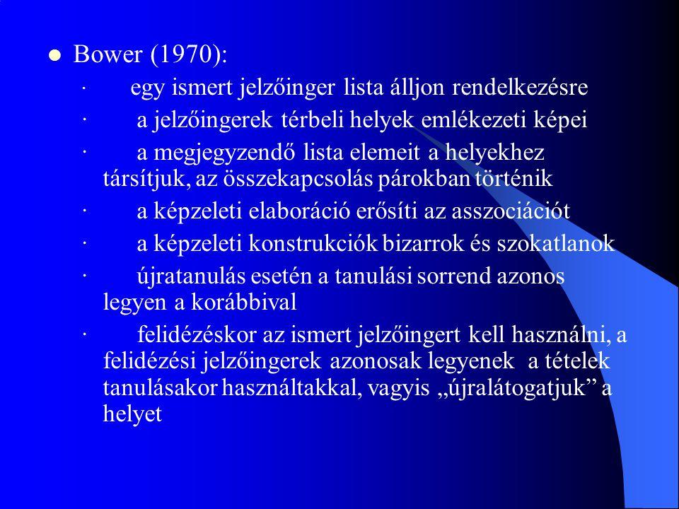 Bower (1970): · a jelzőingerek térbeli helyek emlékezeti képei