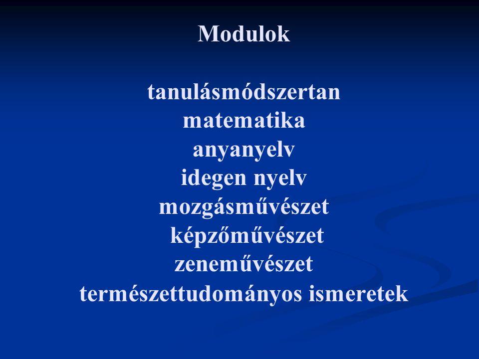 Modulok tanulásmódszertan matematika anyanyelv idegen nyelv mozgásművészet képzőművészet zeneművészet természettudományos ismeretek