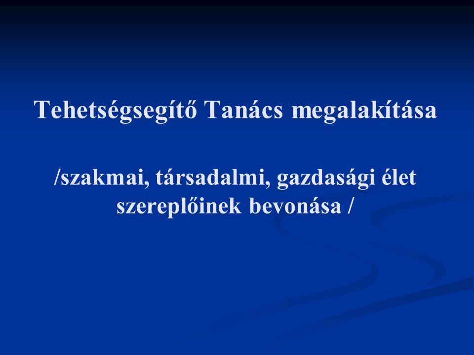 Tehetségsegítő Tanács megalakítása /szakmai, társadalmi, gazdasági élet szereplőinek bevonása /