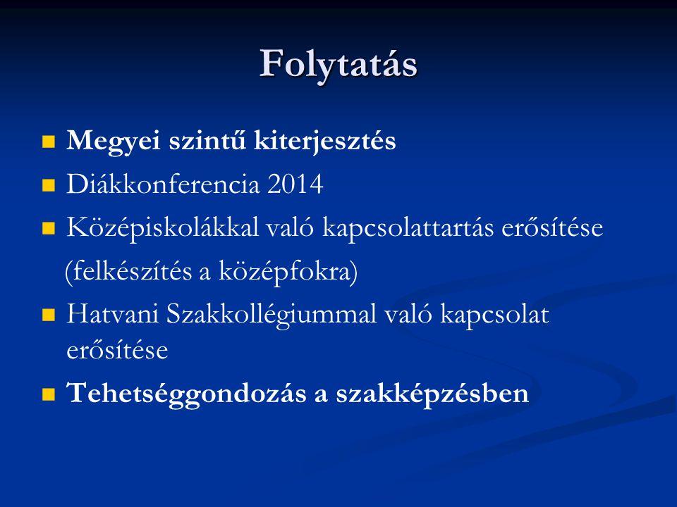 Folytatás Megyei szintű kiterjesztés Diákkonferencia 2014