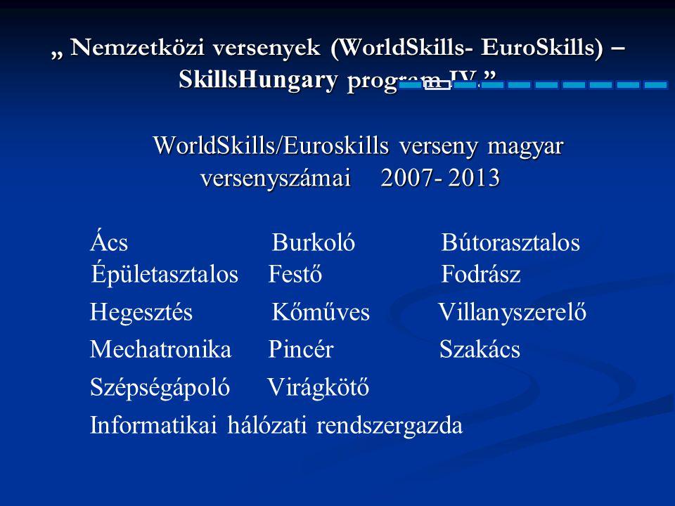 """"""" Nemzetközi versenyek (WorldSkills- EuroSkills) – SkillsHungary program IV."""