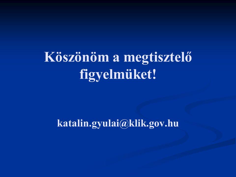 Köszönöm a megtisztelő figyelmüket! katalin.gyulai@klik.gov.hu