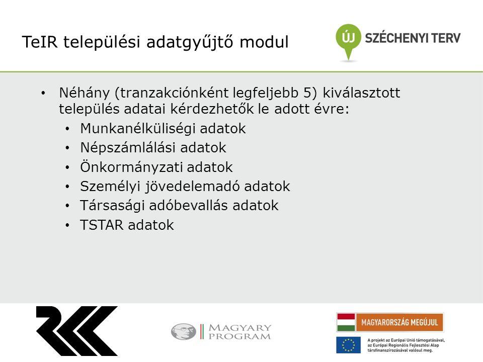 TeIR települési adatgyűjtő modul