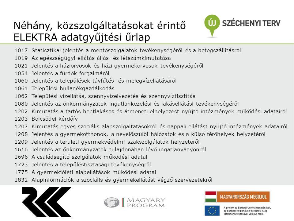 Néhány, közszolgáltatásokat érintő ELEKTRA adatgyűjtési űrlap
