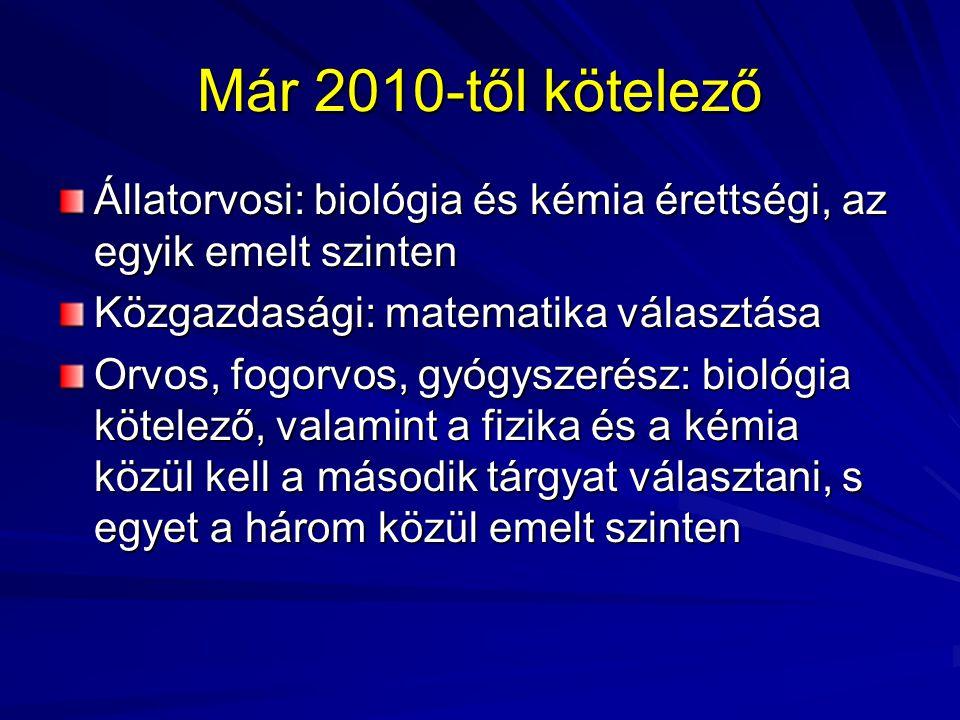 Már 2010-től kötelező Állatorvosi: biológia és kémia érettségi, az egyik emelt szinten. Közgazdasági: matematika választása.