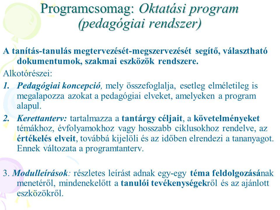 Programcsomag: Oktatási program (pedagógiai rendszer)