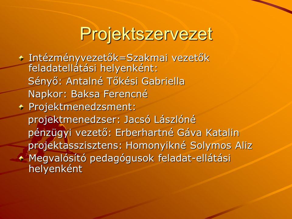 Projektszervezet Intézményvezetők=Szakmai vezetők feladatellátási helyenként: Sényő: Antalné Tőkési Gabriella.