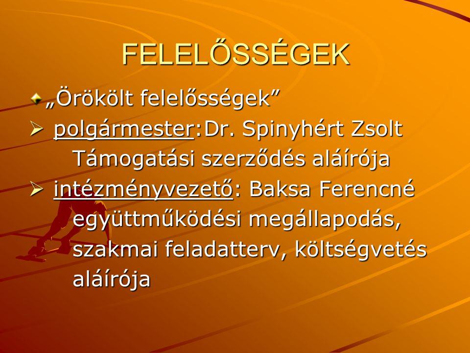 """FELELŐSSÉGEK """"Örökölt felelősségek polgármester:Dr. Spinyhért Zsolt"""