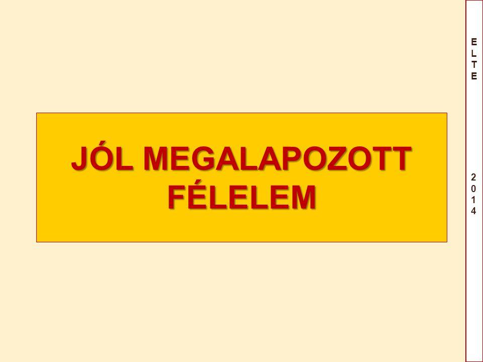JÓL MEGALAPOZOTT FÉLELEM