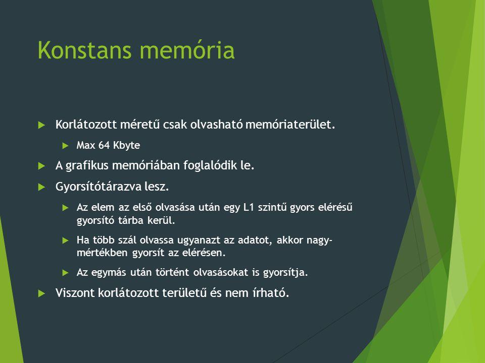 Konstans memória Korlátozott méretű csak olvasható memóriaterület.