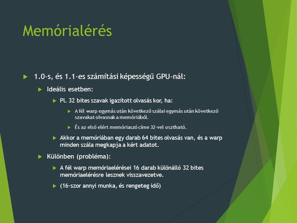 Memórialérés 1.0-s, és 1.1-es számítási képességű GPU-nál:
