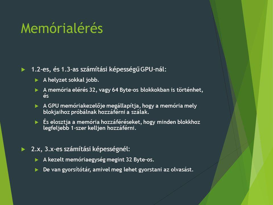 Memórialérés 1.2-es, és 1.3-as számítási képességű GPU-nál: