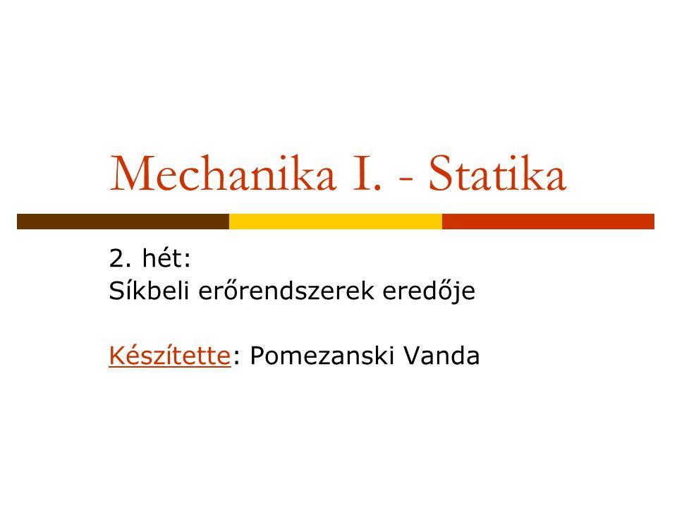2. hét: Síkbeli erőrendszerek eredője Készítette: Pomezanski Vanda