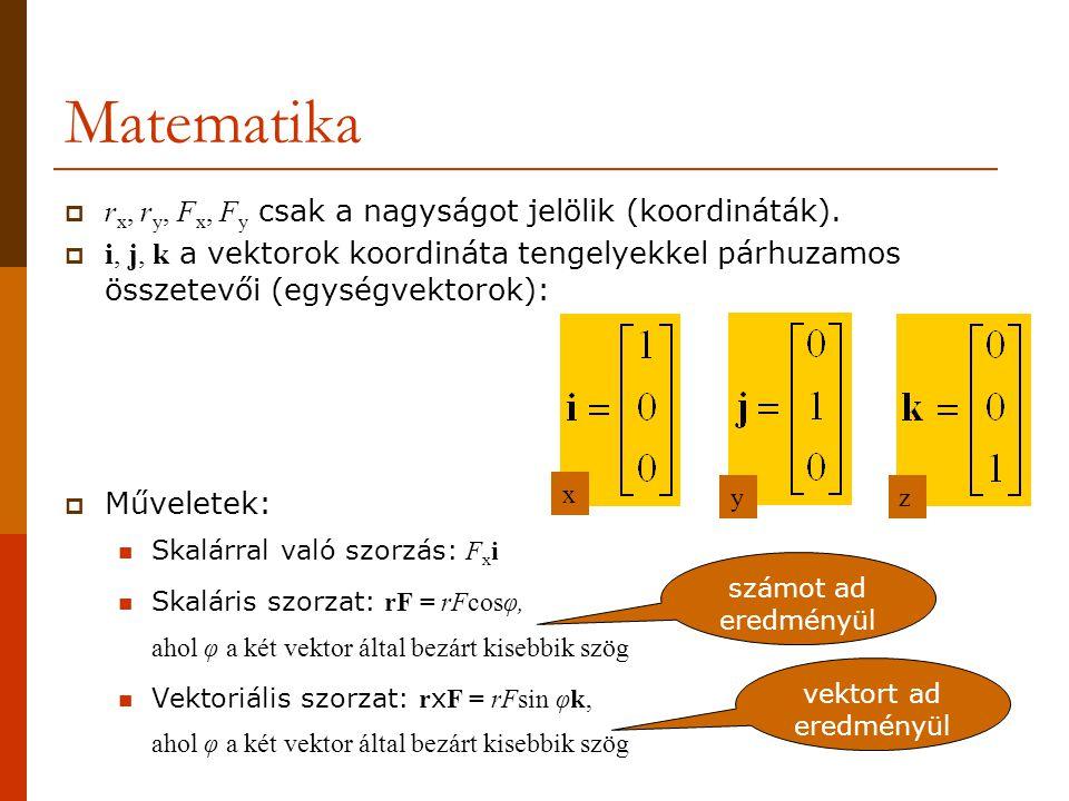 Matematika rx, ry, Fx, Fy csak a nagyságot jelölik (koordináták).