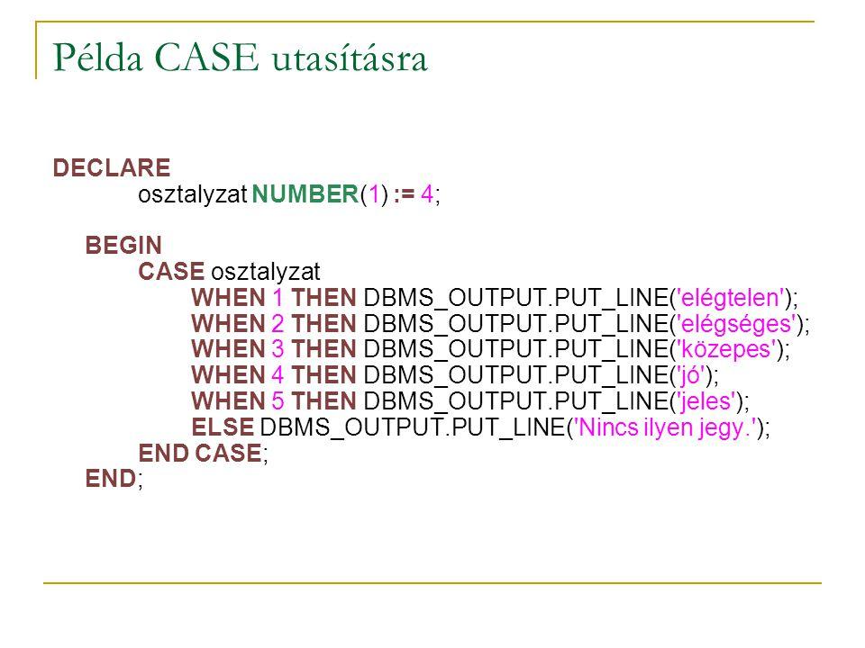 Példa CASE utasításra