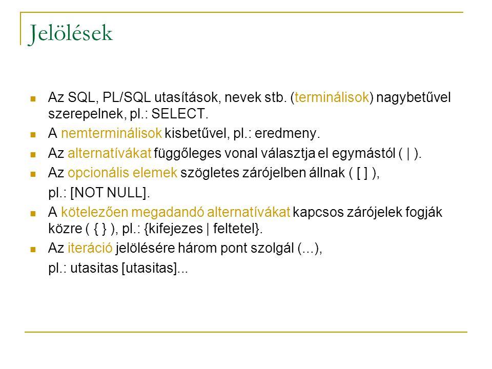 Jelölések Az SQL, PL/SQL utasítások, nevek stb. (terminálisok) nagybetűvel szerepelnek, pl.: SELECT.