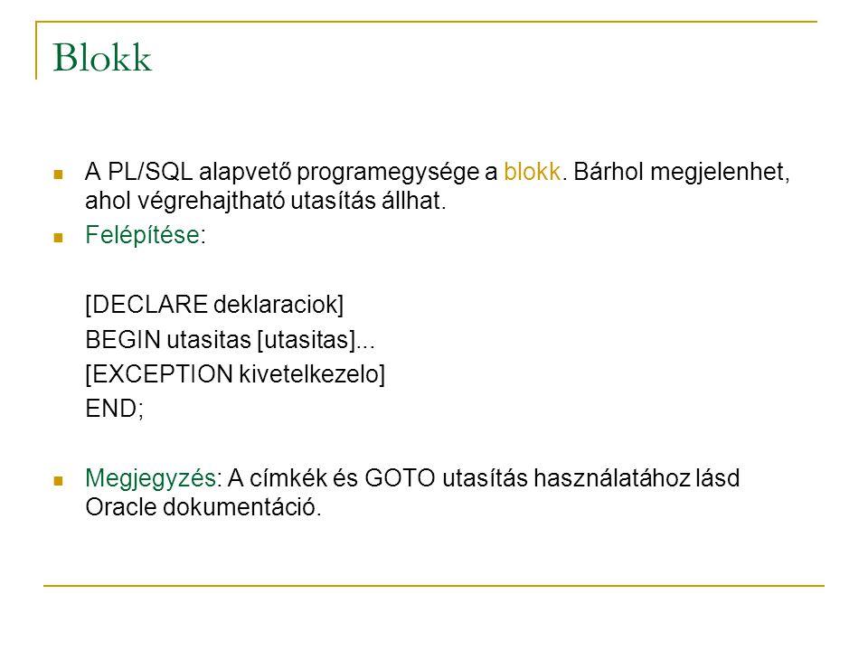 Blokk A PL/SQL alapvető programegysége a blokk. Bárhol megjelenhet, ahol végrehajtható utasítás állhat.