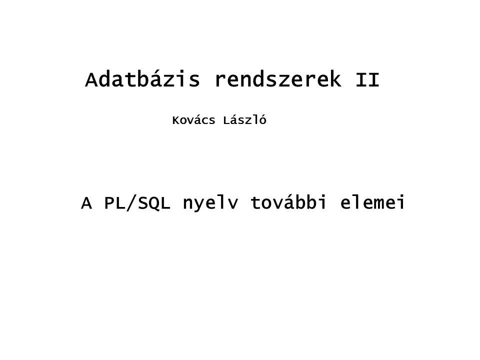 Adatbázis rendszerek II