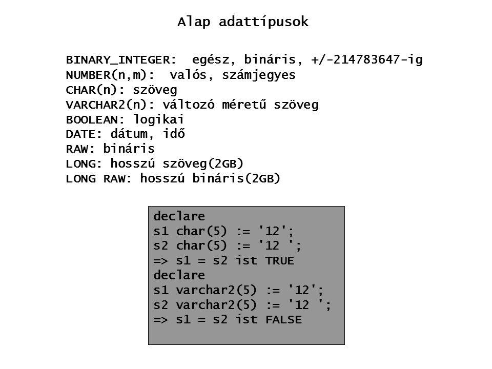 Alap adattípusok BINARY_INTEGER: egész, bináris, +/-214783647-ig