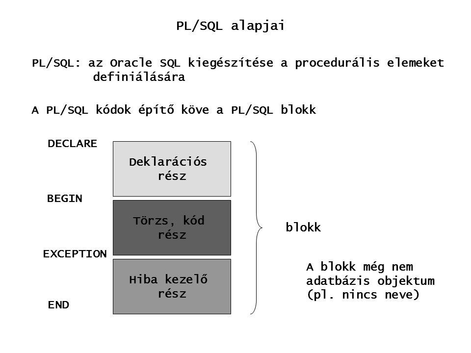 PL/SQL alapjai PL/SQL: az Oracle SQL kiegészítése a procedurális elemeket. definiálására. A PL/SQL kódok építő köve a PL/SQL blokk.