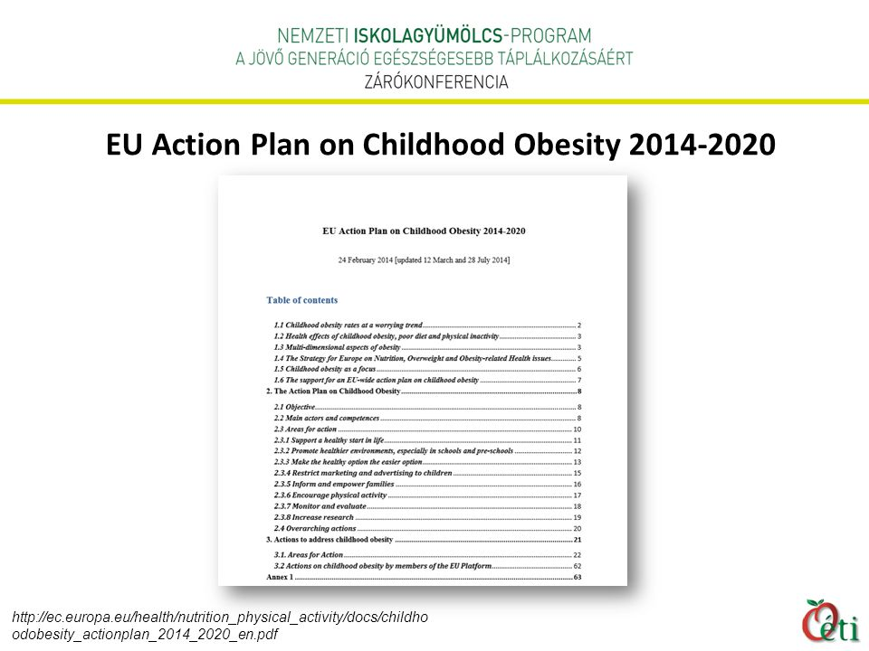 EU Action Plan on Childhood Obesity 2014-2020